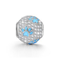 NinaQueen® 925 Sterling Silver Puppy Dog Paw Animal Foot Print Round Shape Design Cubic Zirconia Charms Fits Pandora Bracelets *Ideal Gift For your mother,wife and your friends*