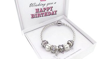 273597335 Happy Birthday Leather Charm Bracelet Pandora Style Gift Boxed (16th ...