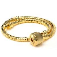 "RUBYCA 10pcs 7.9"" Gold Color Clasp European Snake Chain Charm Bracelet fit Charm Beads DIY"