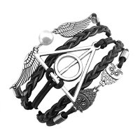 ELBLUVF Alloy Harry Potter Deathly Hallows Snitch Owl Black Synthetic Leather Bracelet