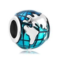 CharmSStory Ocean Blue Earth World Globe Charm Beads For Bracelets (World)