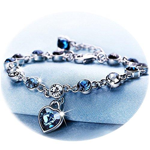 Crystal filled Fashion Bracelet Tubular Cuff Bracelet Blue Crystal Pearl Mesh Bracelet with Clear Crystal Charm Stardust Cuff Bracelet