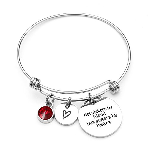 Personalised Daisy Birthstone Crystal Initial Letter Charm Stainless Steel Bangle