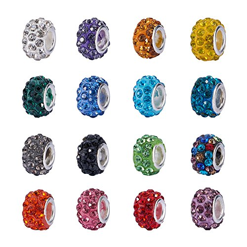 1PC Hollow Oval Rhinestone Crystal European Charm Spacer Beads Jewelry DIY