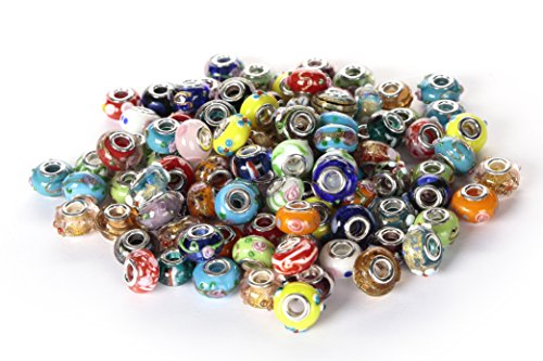 20 pcs 14mm Mixed clover glass lampwork bead 4.8mm fits european bracelet