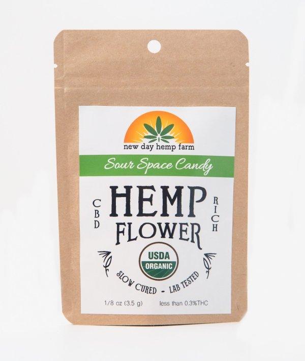 1 Gram New Day Hemp Farm Sour Space Candy CBD Artisan Hemp Flower
