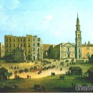 Piazza Mercato a Napoli in un vecchio dipinto di fine XVIII secolo