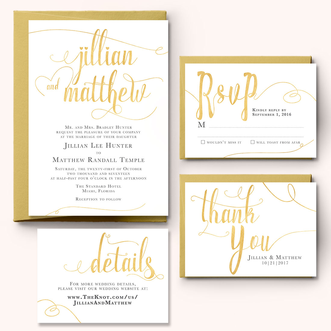 White And Gold Wedding Invitation Set Charming Chestnuts