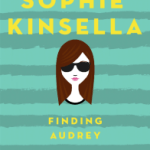 Girl wearing glasses on cover of Sophie Kinsella novel Finding Audrey