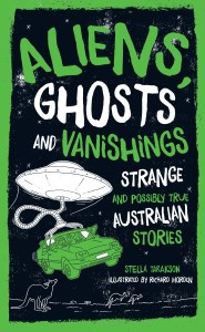 UFO lifting car in spooky green tones. Cover image for book Aliens, Ghosts & Vanishings.