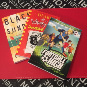 Image of 3 kids book covers- Black Sunday, Diary of a Wimpy Kid and Football High
