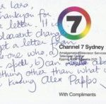 Handwritten letter from Justine Clarke to young fan.