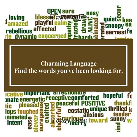 Word cloud including phrase 'Charming Language - Find the words you've been looking for.'