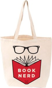 Tote bag with image 'book nerd'
