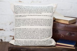 Pride & Prejudice themed cushioned cover