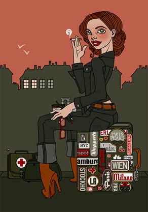 Postkartenmotiv Ich hab noch einen Koffer in Berlin - © Iris Luckhaus