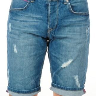 Amica trendy gewassen en damaged heren korte spijkerbroek - A024 Blauw
