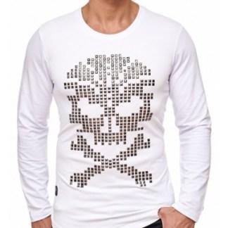 Red Bridge trendy heren skull sweatshirt met studs - R120 Wit