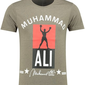 Oxcid Muhammad Ali trendy regulair fit ronde hals heren T-Shirt - B771 Legergroen