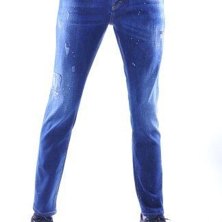 Republix trendy damaged heren jeans met verfspatten, R793 Blauw