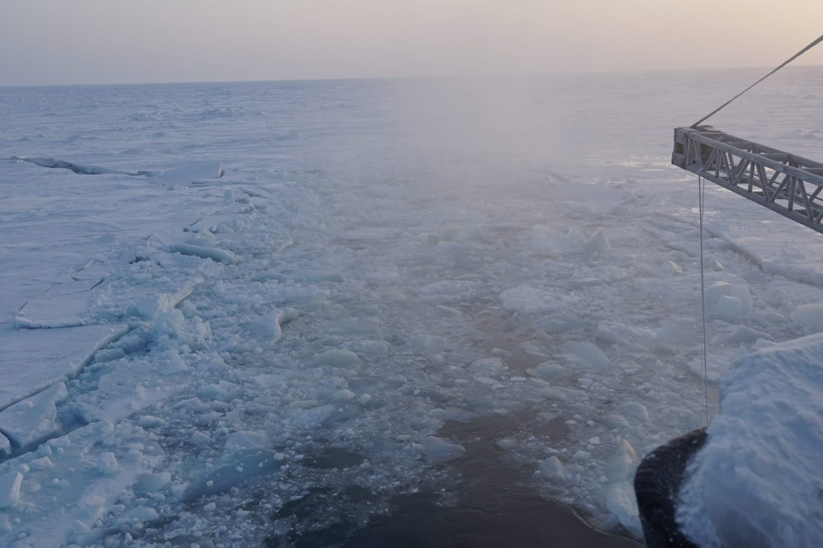 Sea ice pictured from the stern of an icebreaker