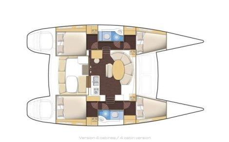 Interior da Lagoon catamaran