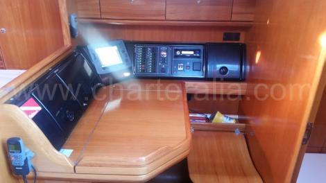 Tabela de tabela e painel de controle no barco a vela para alugar em Ibiza