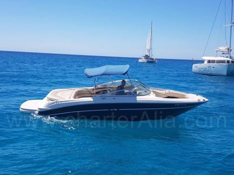Toldo do Sea Ray 230 aluguel de barco a motor em Ibiza com skipper