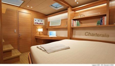cabine de popa com estante em barco para alugar em ibiza