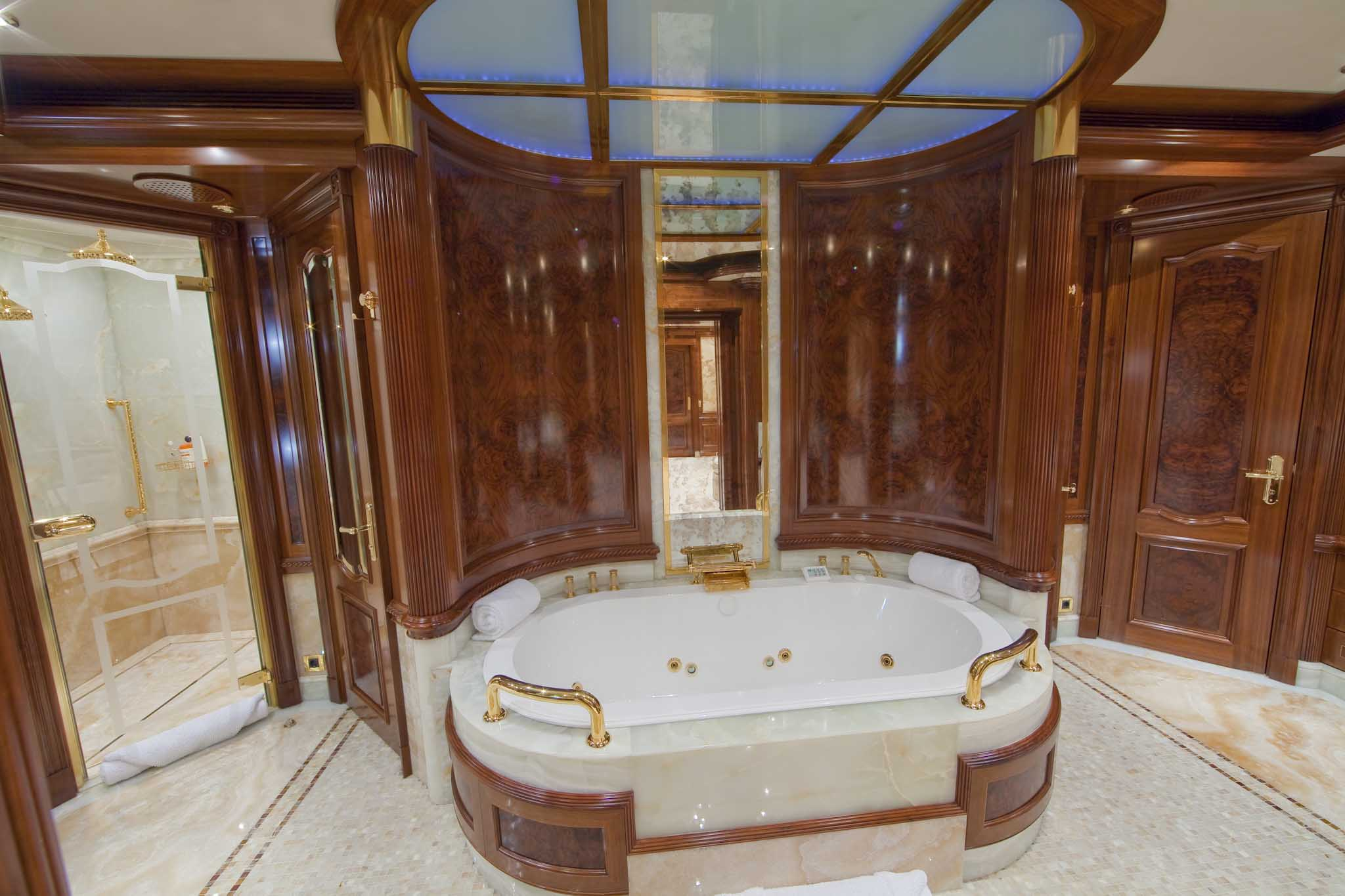 Bathroom Image Gallery     Luxury Yacht Browser   by CHARTERWORLD     Superyacht TITANIA   Master Suite Bathroom  From her elegant and elaborate  furnishings to the luxurious owner s cabin on the main deck  no