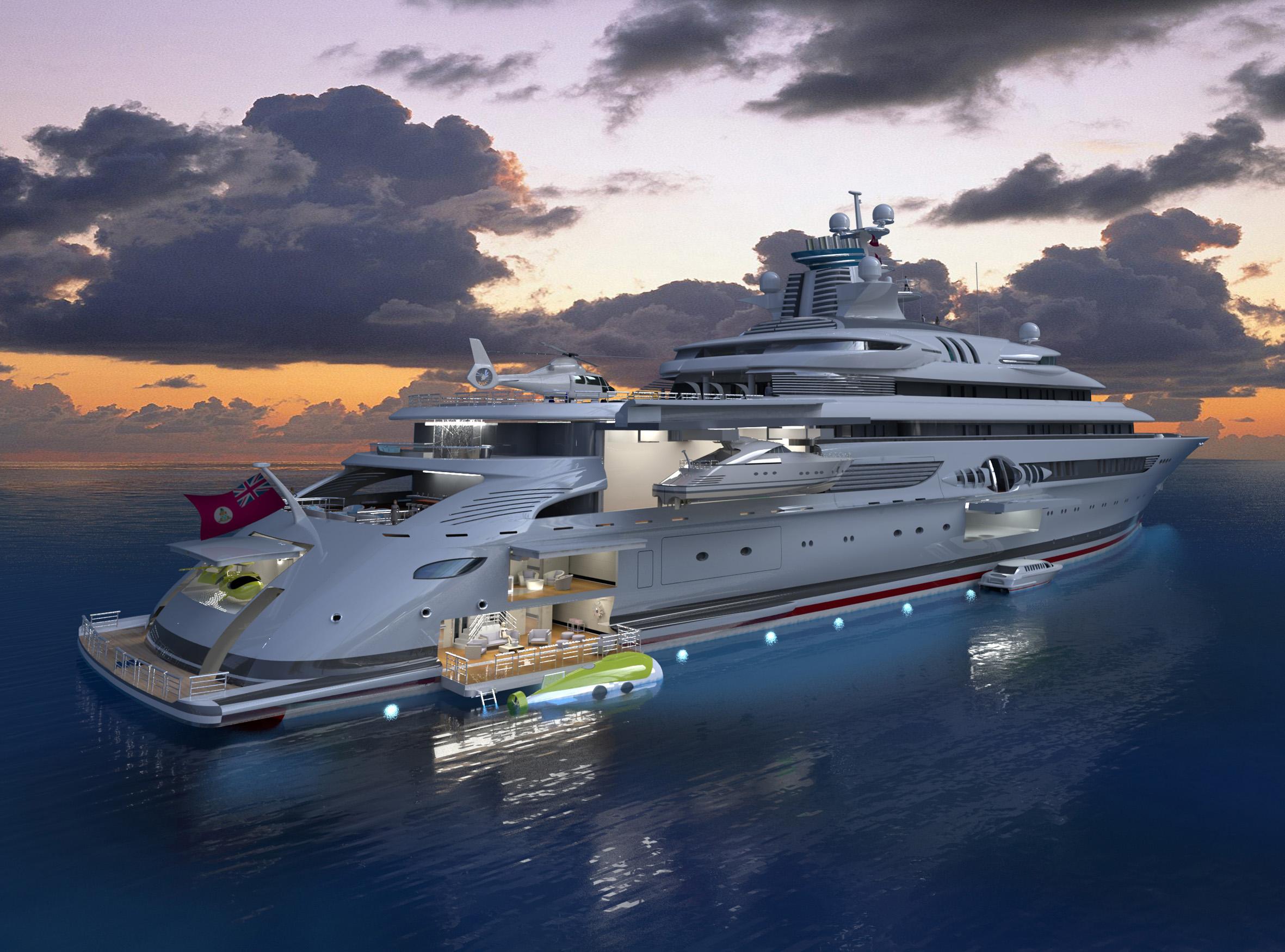 The Blohm Voss 120m Explorer Superyacht Rendering