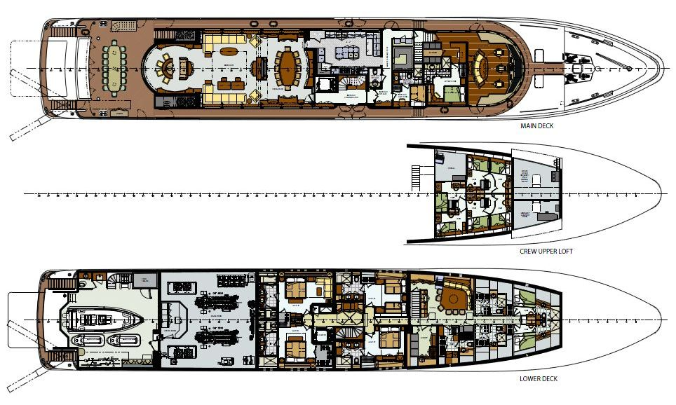 Lower And Main Deck General Arrangement Of Motor Yacht