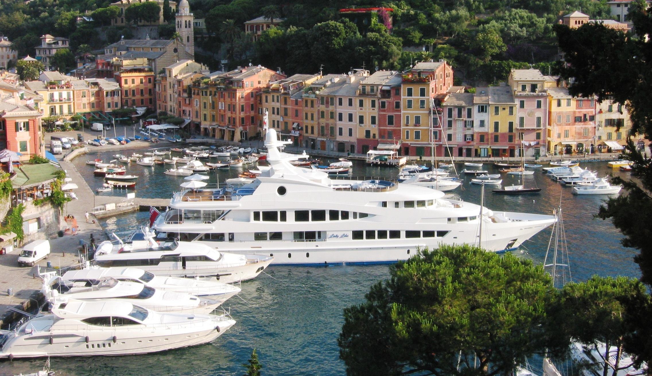 Superyachts Including Lady Lola In Portofino Harbour In