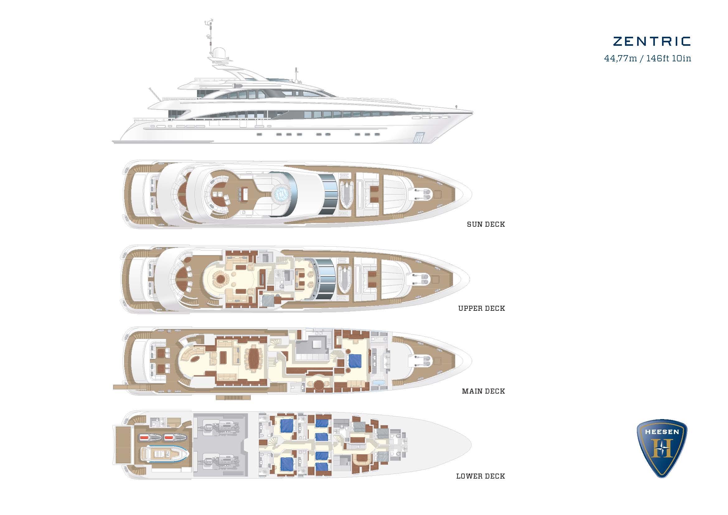 Heesen Motor Yacht ZENTRIC Plans Yacht Charter