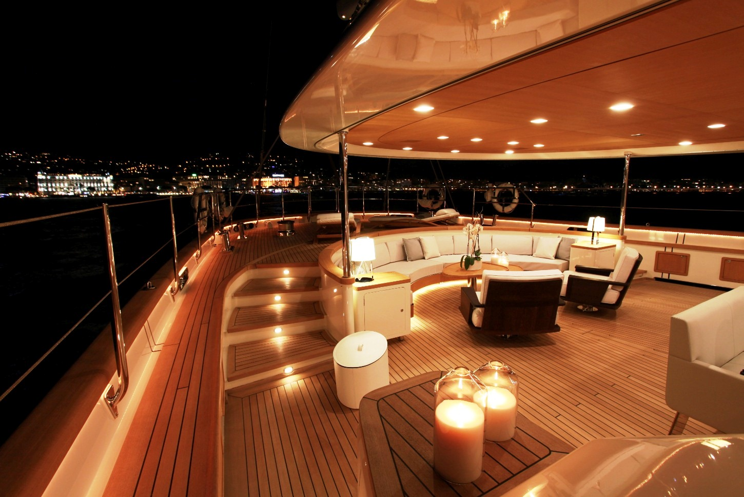 Superyacht SILENCIO Aft Deck At Night Yacht Charter