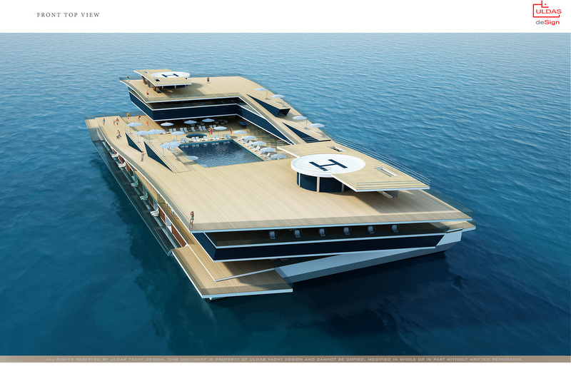 130m Uldas Super Yacht Concept From Above Yacht Charter