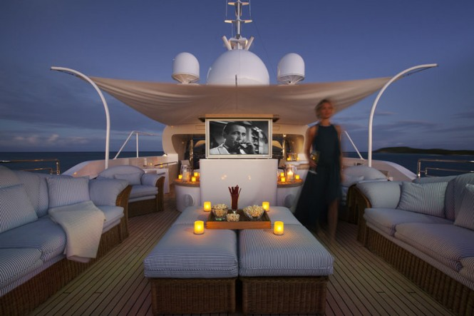 Hot Tub And Outdoor Cinema Photo Credit To Charter Yacht