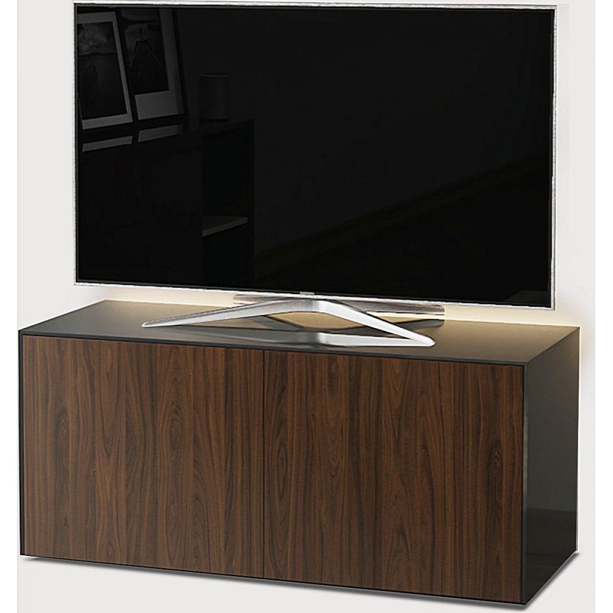 frank olsen intel1100led gry wal 1100mm 110cm grey tv cabinet walnut doors