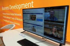 Each display provides up to four panels of content that can be dynamically updated on the fly