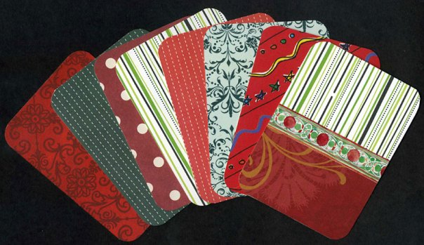 The back sides of the Christmas journaling cards.