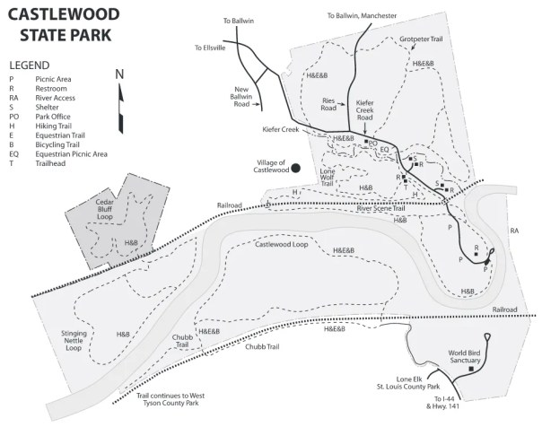 Map of Castlewood State Park in St. Louis County, Missouri