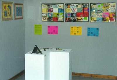 "The Turn Off Your Television Project on display in my 1998 art show ""Areas Affected by Shapes""."