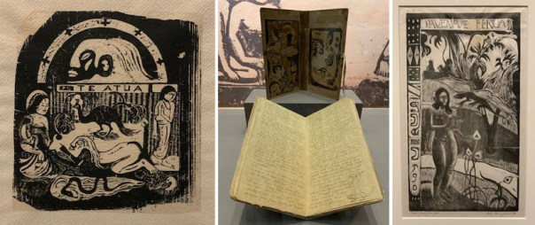 Some of Gauguin's wood cut prints and a handmade book.