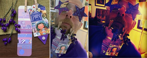 Purple day - I rummaged through a box of stuff I had for making crazy ornaments, and got some purple floral pieces and some plastic jewels. My Dad made the tag on the right and I made the paint sample collage. Tom and I made the stars for the glasses together. Yes we both like Bootsy Collins! Here you can see how much fun and color the filters add to the photos.