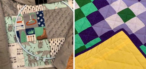 The last steps of quilting my sleeping bag on the left, and one of Kate's finished quilts is on the right.