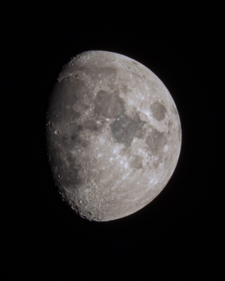 Close up shot of the moon in north dakota