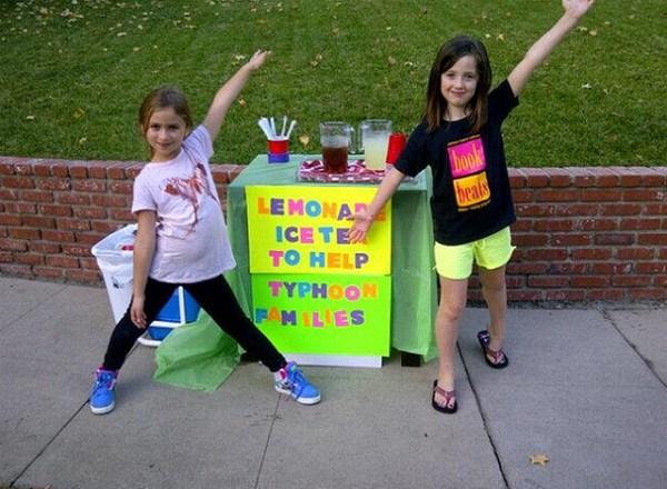 Girls selling Lemonade