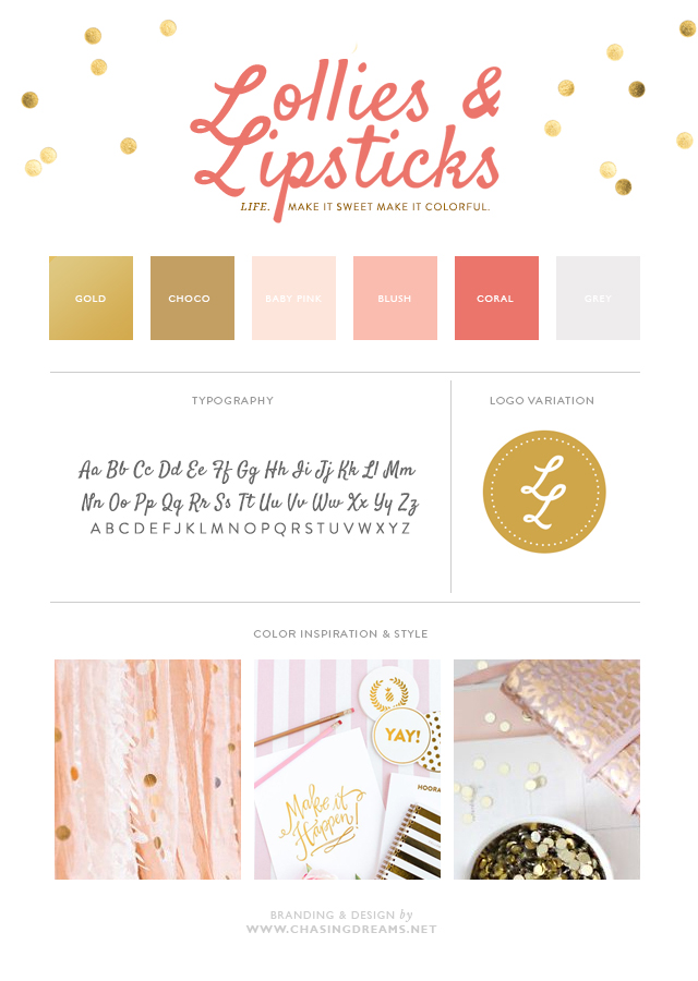 Lollies & Lipstick: Brand Board Gold and Pink