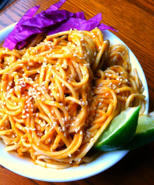 Thai pumpkin curry noodles