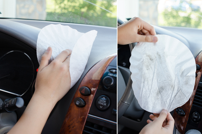 Using coffee filters for dusting as a car cleaning hack